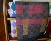 Throw or Baby Quilt, Modern Deep Maroon, Tan, Gold, Chocolate