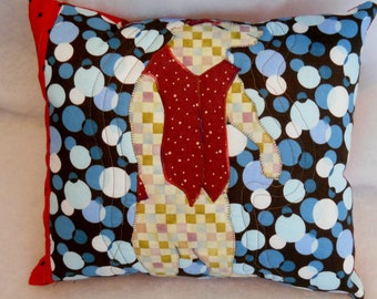 Modern Circus Bear Pillow in a Red Vest and Hat