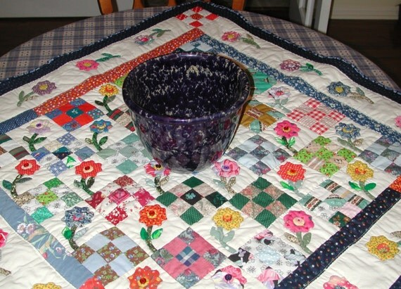 Mini Quilt Lap, Throw, or Table Topper Flowers and Nine Patch