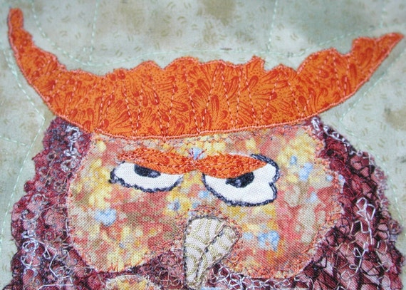 Quilt Wall Hanging Owl Sitting On a Branch