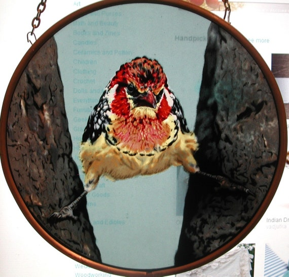 Painted Stained Glass Bird Having a Bad Day