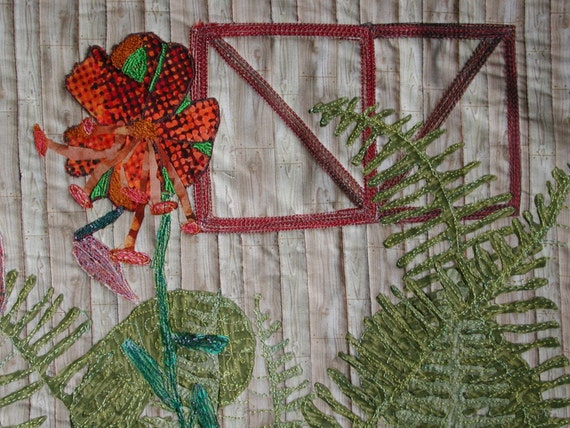 Tiger Lilies and Ferns Original Quilted Wall Hanging