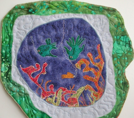 Fish and Seaweed In the Aquarium, Quilted Wall Hanging