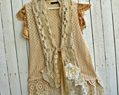 Tea Dyed Vest Vintage Lace
