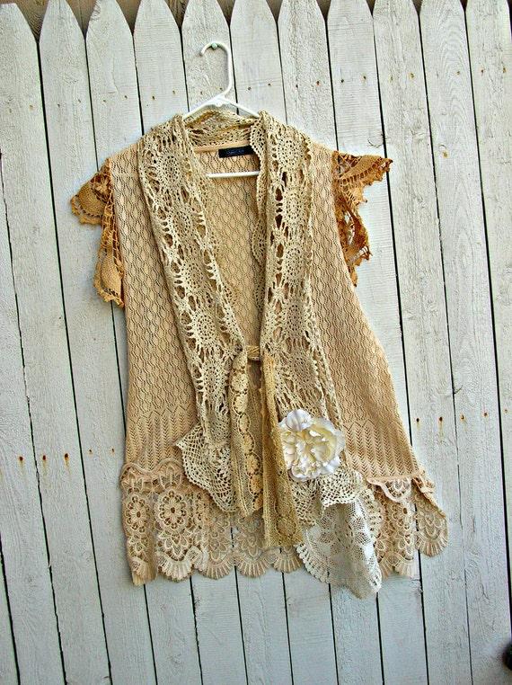 Tea Dyed Vest Vintage Lace