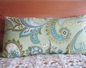SAVE 10% NOW - Lumbar Pillow Paisley Design Cotton Fabric Stuffed Ready to Use