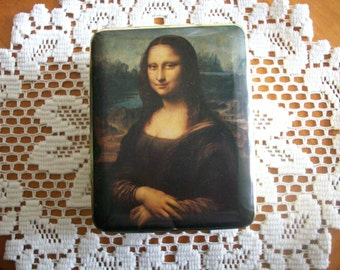 Mona Lisa Vanity Box Jewelry Box Tin Container Collectible French Chic Decor Trinket Box French Art Decor