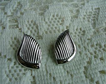 Vintage Trifari Brand Silvertone Pierced Earrings