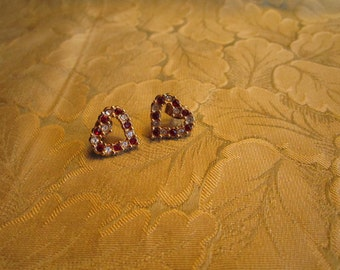Valentine Red and Clear Sparkly Rhinestone Heart Earrings Say I Love You
