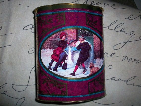 Christmas Tin Vintage Decorative Collectible Tin - Victorian Children