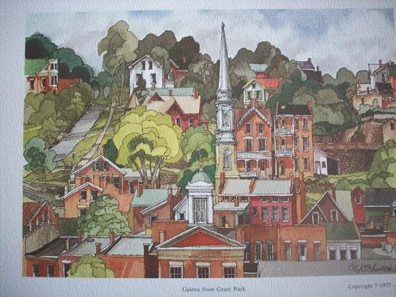 Vintage Watercolor Images - Galena Illinois