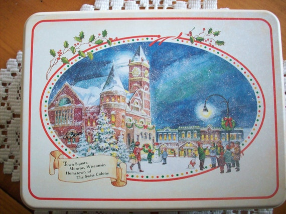 Christmas Tin by The Swiss Colony Monroe WI Designed by Helen Endres