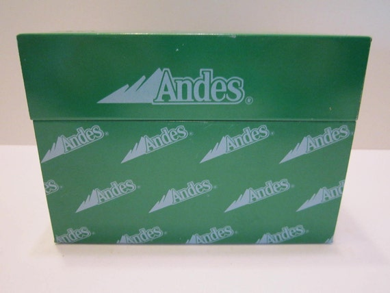 Andes Candies - Vintage Recipe Box - Green Silver Gray