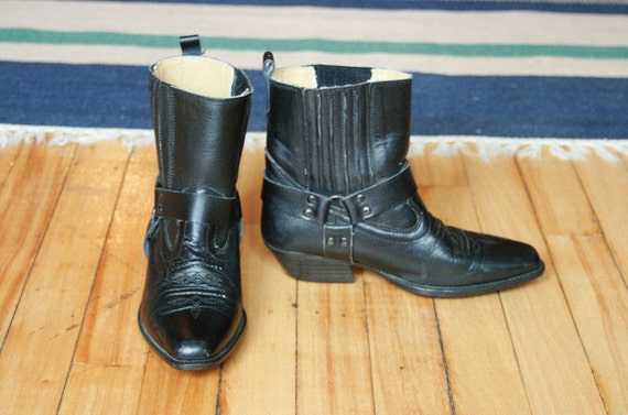 Black Leather Cowboy Harness Ankle Boots - 5.5/6