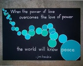 "Peace Jimi Hendrix Quote Painting 36"" x 24"" x 1.5"""
