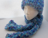Feather Fun Fur Hat and Scarf Set Purple Blue Grey SADETSYBOYFRIEND
