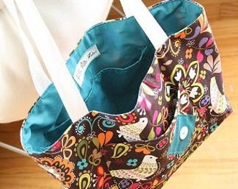 Anytime Tote (Birds of Norway in Espresso fabric)