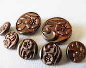 Bronze color Glass Buttons Flower