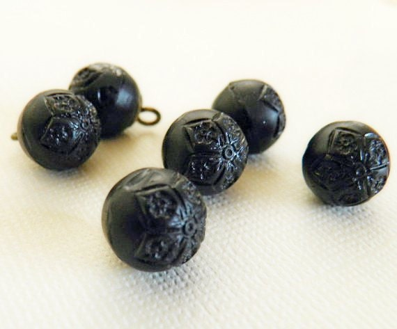 Old Carved Black Glass Ball Buttons LAST ONES