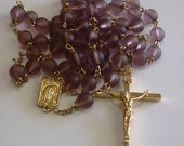 Purple Satin Glass Catholic Rosary
