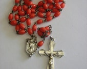 Vintage Coral Glass Catholic Rosary Commemorating Lourdes