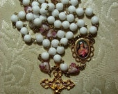 RESERVED FOR ERIC  Milk White Glass with Lampwork Pink Glass Hearts Catholic Rosary