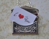 Necklace secret message envelope silver Personalized Stainless Steel chain