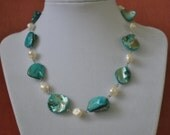 Necklace Blue Beach Shell and Fesh Water Pearls in Silver