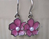 Earrings Pink sakura cherry blossom silver
