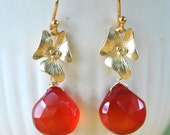 Orange Orchid Earrings, birdesmaids gift, Tangy red flower gold