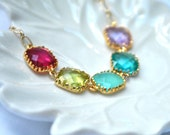 Rainbow Necklace Colorful  Pink Green Aqua Blue and Purple in 14k gold plate
