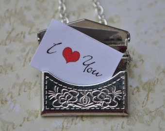 Personalized Envelope Necklace secret message envelope silver I Love You Perfect Gift