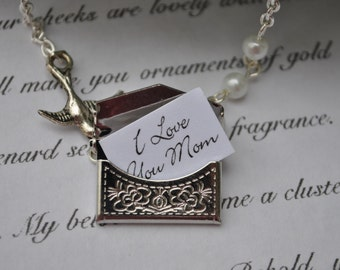 Mother's Day Envelope Necklace secret message Personalized envelope silver I Love You Mom Bird and Pearl Gift