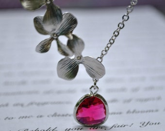 Pink Orchid Necklace flower silver Fuchsia Bridesmaid Necklace, Bridal Jewlery
