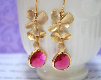 Pink Earrings Orchid Flower in Gold Earwires - Bridesmaid Gifts Bridal Jewelry, Set of 2, 3, 4, 5 ,6 ,7 ,8 ,9 10, 11, 12