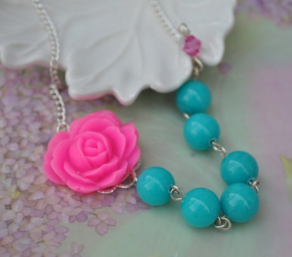 Pink and turquoise Necklace, Rose Cabochon with blue round beads very Marie Antoinette