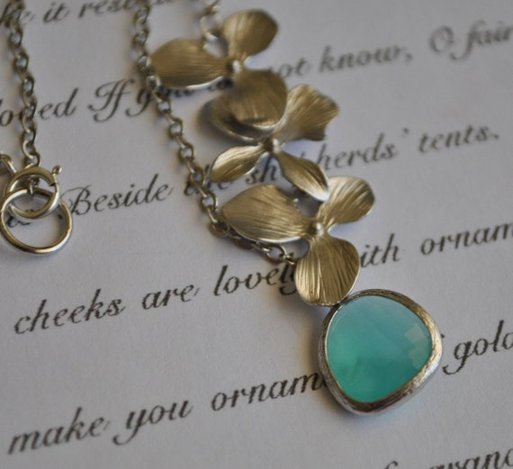Necklace Orchid Aqua Flower Silver