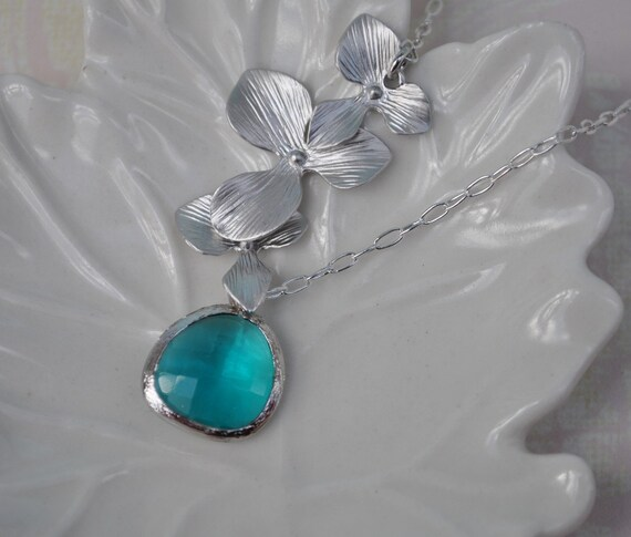 Necklace ocean blue orchid flower silver