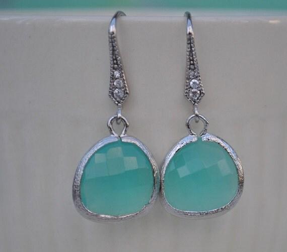 Earrings aqua blue briolette Rhodium Plated silver