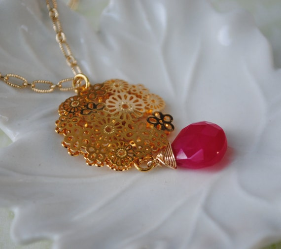 Pink Bohemian Necklace Gemstone in a Flower Round Medallion filigree 14k gold plate Chalcedony wire wrapped