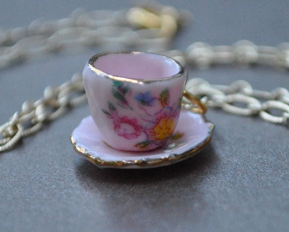 Tea cup Nekclace Tea Time in gold pink cup and saucer miniature