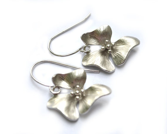 Orchid Earrings Orchid Flower in Silver Earwires - Bridesmaid Gifts Bridal Jewelry
