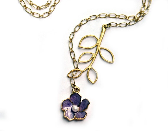 Purple Flower Necklace and leave branch in Gold