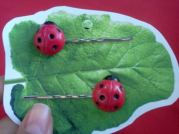 Giant Lady Bug Hair Pins - Set of 2
