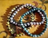Peacock Pearls Bracelet Set