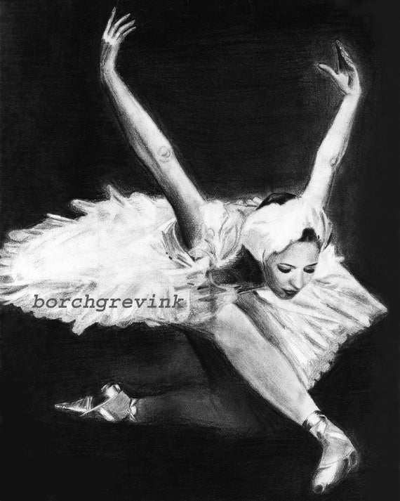 "Dying Swan - pencil drawing 11"" x 14"", matted"