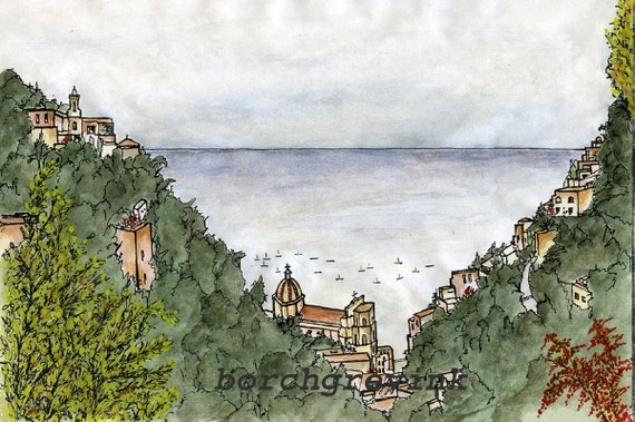 "Positano, Amalfi Coast, Campania, Italy - watercolor 12"" x 16"" including mat"