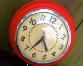 midcentury wall clock - 1960s bright red mod electrical by United