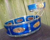 midcentury chip and dip bowl - 1950s vintage blue/gold glass appetizer dish w/ raised bowl