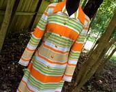 RESERVED / vintage Kay Windsor dress - 1960s orange striped button down dress